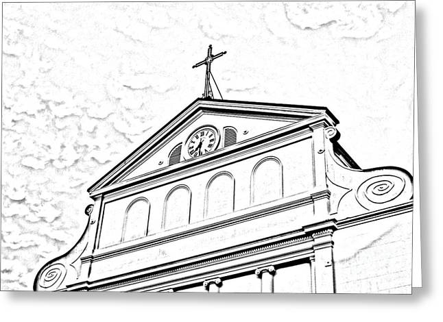 Sunset On St Louis Cathedral In Jackson Square French Quarter New Orleans Photocopy Digital Art Greeting Card by Shawn O'Brien