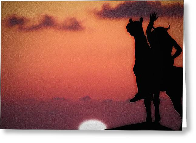 Sunset On The American Indian Greeting Card