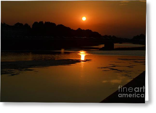 Sunset On The Arno River Greeting Card by Kathleen Pio