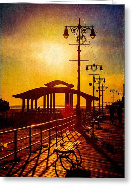Sunset On The Boardwalk Greeting Card by Chris Lord