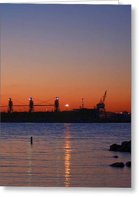 Sunset On The Detroit River Greeting Card