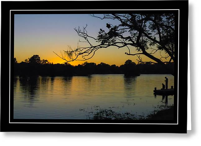 Sunset On The Dock Greeting Card by Carolyn Marshall