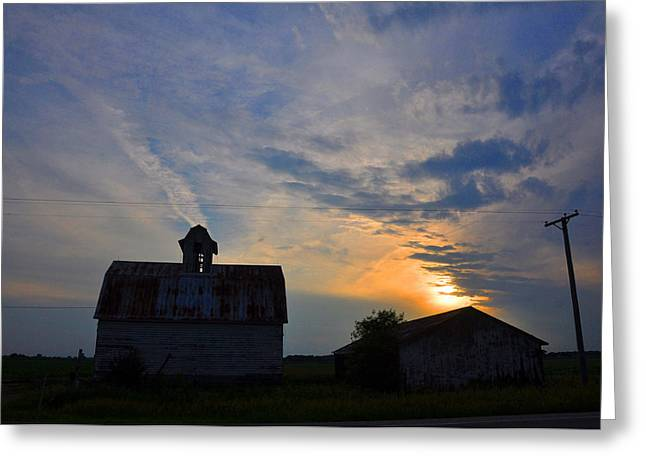 Sunset On The Farm Greeting Card by Daniel Ness