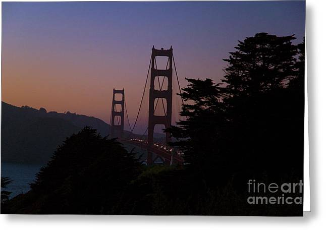 Sunset on the Golden Gate Greeting Card by Tim Mulina