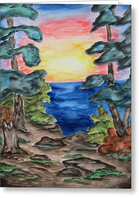 Sunset On The Great Lakes-wcs Greeting Card by Cheryl Pettigrew