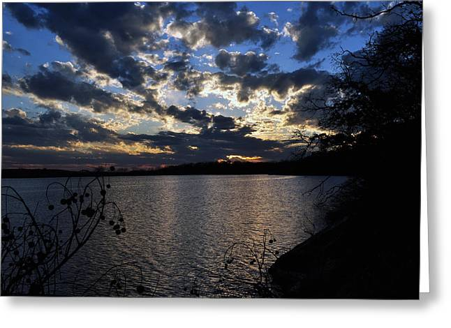 Sunset On The Lake Greeting Card by Timothy Johnson