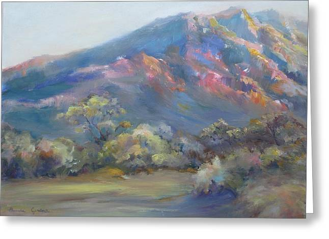 Greeting Card featuring the painting Sunset On The Mountains by Bonnie Goedecke