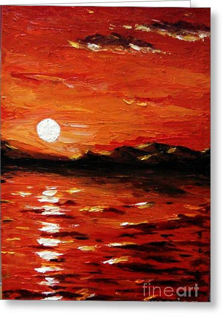 Sunset On The Sea Greeting Card by Muna Abdurrahman