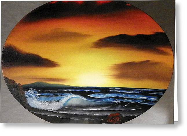 Sunset On The Seashore Greeting Card by Amity Traylor