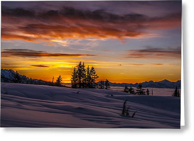 Sunset On The Tantalus Greeting Card by Ian Stotesbury