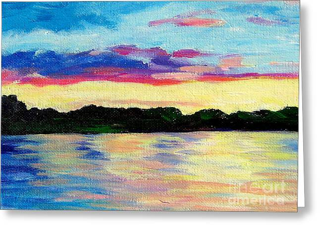 Sunset On Thornapple River Greeting Card by Lisa Dionne