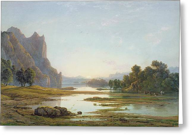Sunset Over A River Landscape Greeting Card by Francis Danby