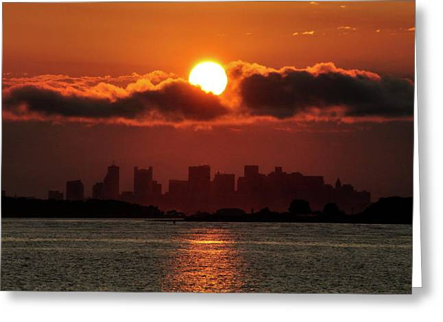 Sunset Over Boston Greeting Card