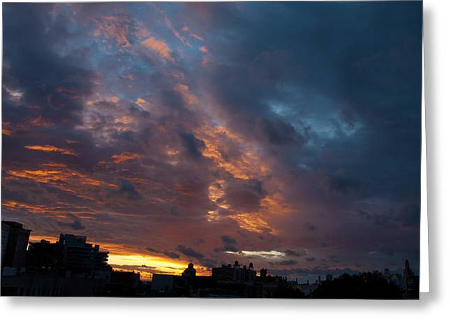 Sunset Over Brooklyn Post Irene Greeting Card by Julie VanDore