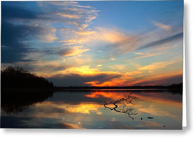 Sunset Over Calm Lake Greeting Card