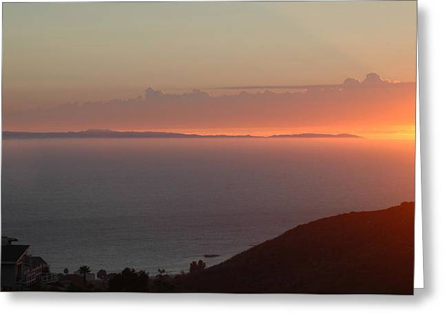 Sunset Over Catalina Greeting Card by Russell Pierce