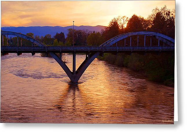Sunset Over Caveman Bridge Greeting Card