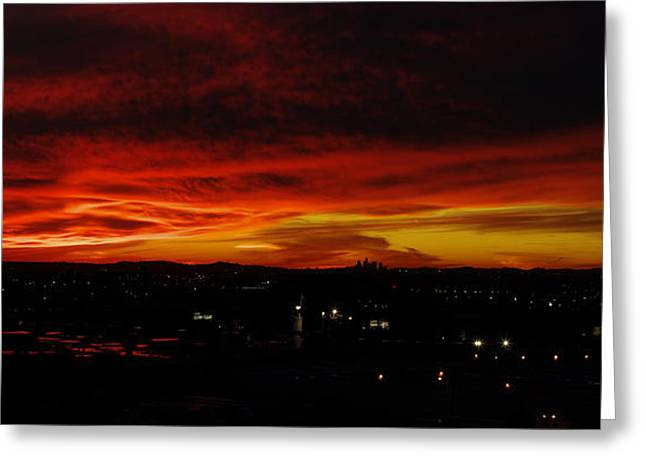Sunset Over L.a. Greeting Card by Mike Herdering