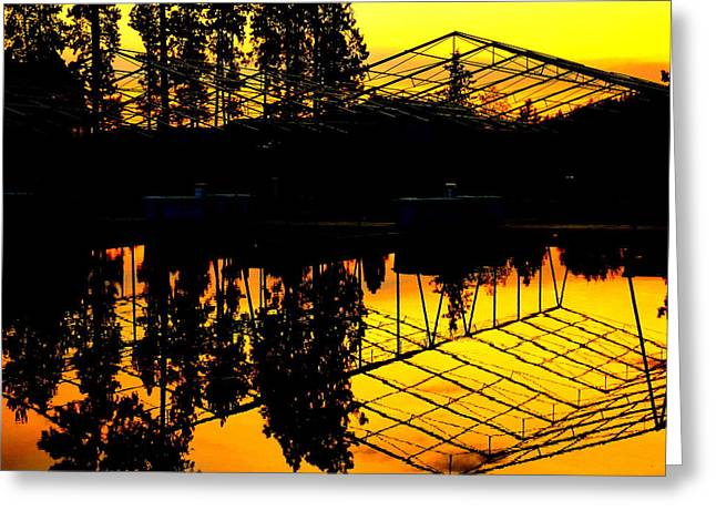 Sunset Over Lake Coeur D Alene Docks Greeting Card by Cindy Wright
