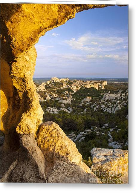 Sunset Over Les Baux Greeting Card by Brian Jannsen