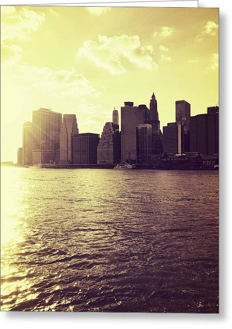 Sunset Over Manhattan Greeting Card by Vivienne Gucwa