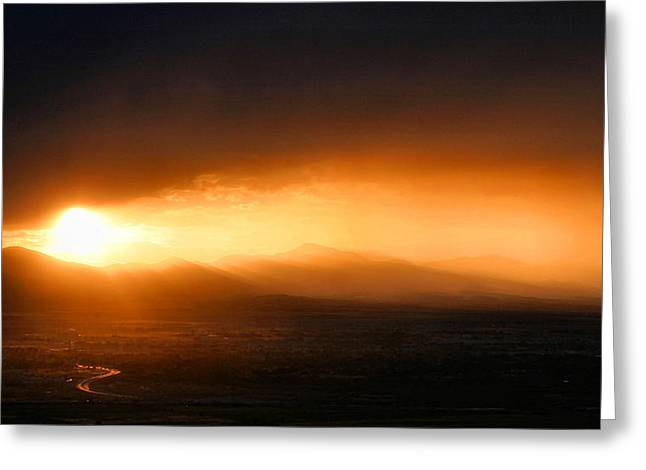 Sunset Over Salt Lake City Greeting Card by Kristin Elmquist