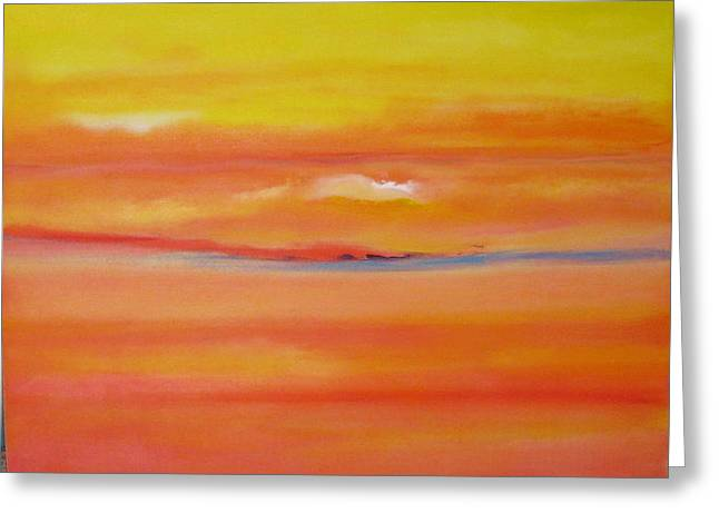 Sunset Over Santa Fe Greeting Card by Jane Ubell-Meyer