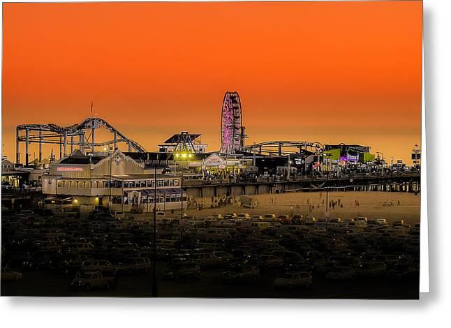 Sunset Over Santa Monica Pier Greeting Card by Trevor Seitz