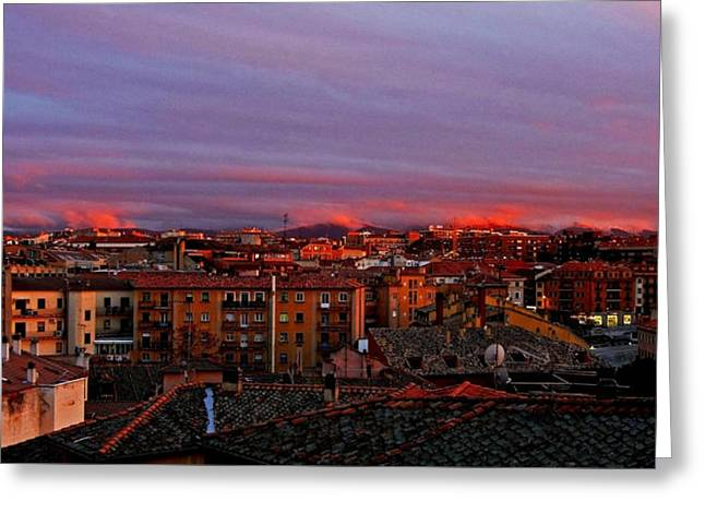 Sunset Over Segovia ... Greeting Card by Juergen Weiss