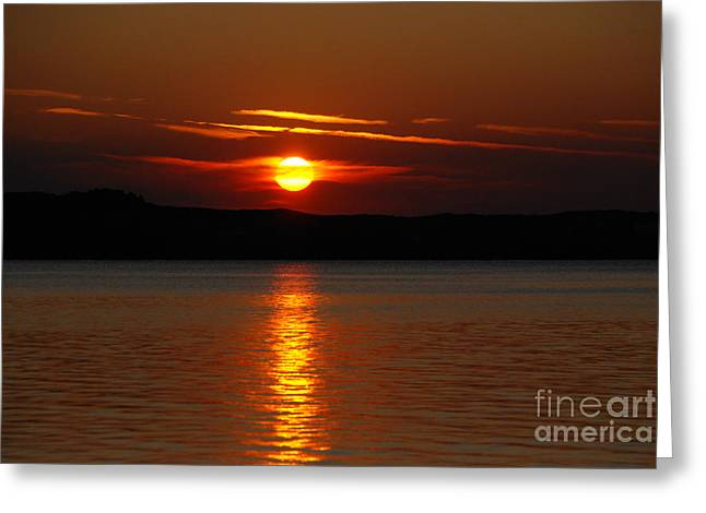 Sunset Over Silver Lake Sand Dunes Greeting Card by Grace Grogan