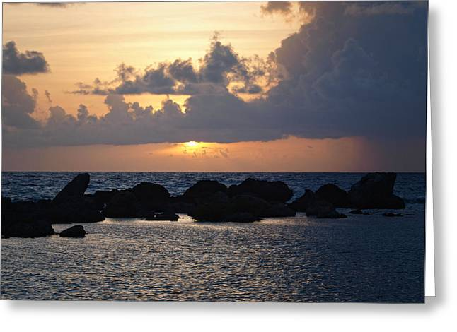 Sunset Over The Ocean Greeting Card by Philip G