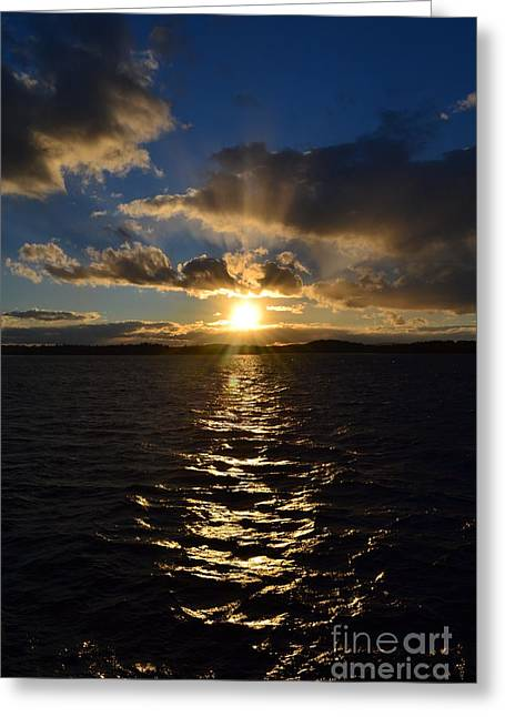 Sunset Over Winnepesaukee Greeting Card by Kevin Fortier