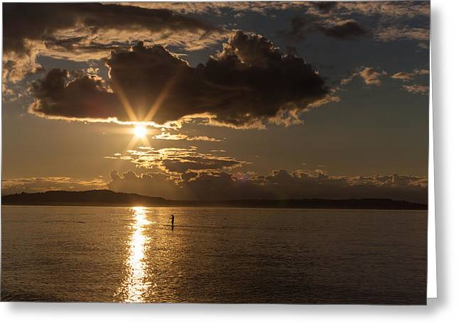 Sunset Paddleboarder Greeting Card by Mike Reid