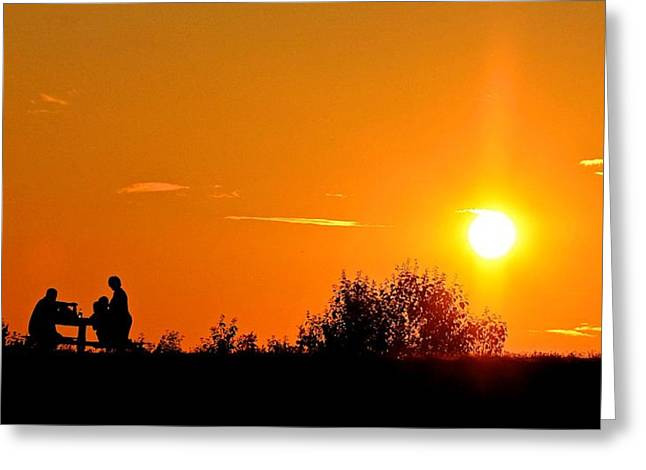Greeting Card featuring the photograph Sunset Picnic by Scott Holmes