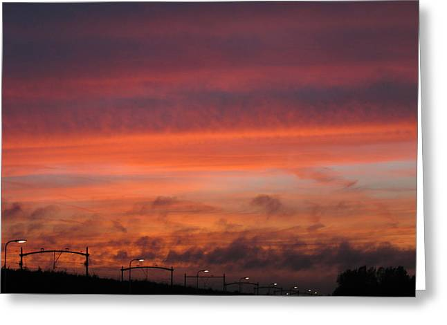 Sunset Reeshof Greeting Card by Nop Briex
