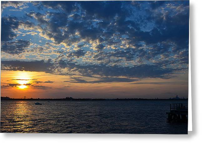 Greeting Card featuring the photograph Sunset Rockaway Point Pier by Maureen E Ritter