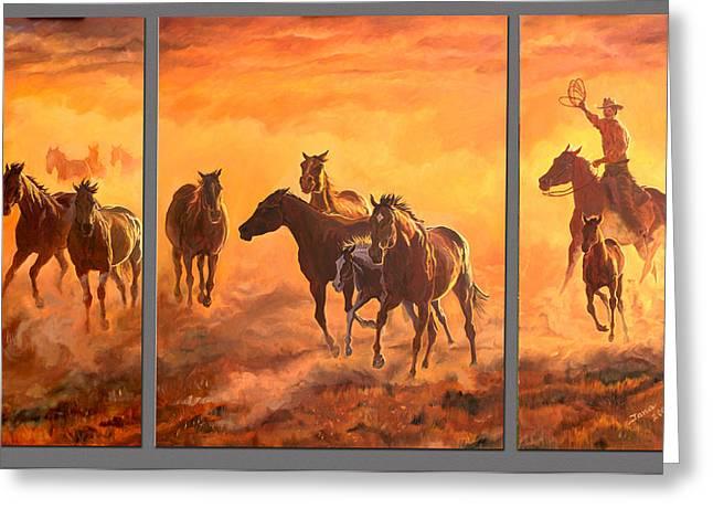 Sunset Run Triptych Greeting Card by Jana Goode