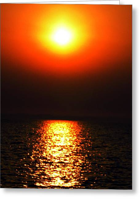 Greeting Card featuring the photograph sunset Santorini Greece by Colette V Hera  Guggenheim