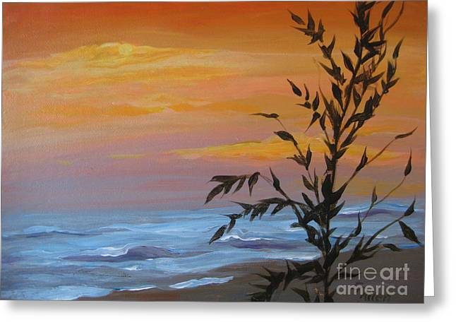 Greeting Card featuring the painting Sunset Sea Oats by Gretchen Allen