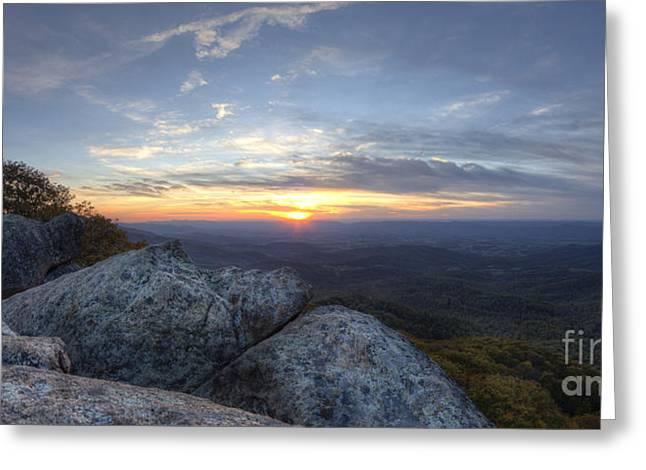 Sunset Shenandoah National Park Marys Rock Greeting Card by Dustin K Ryan