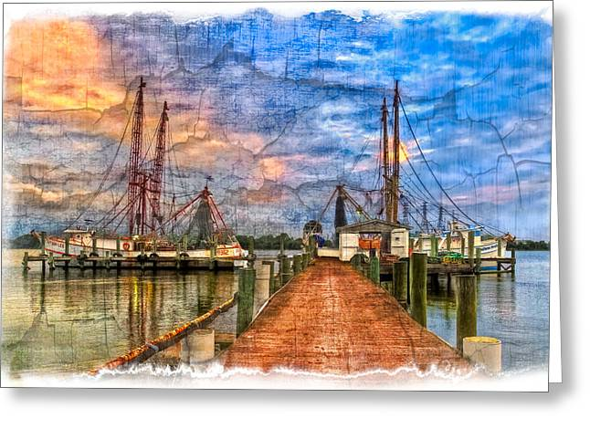 Sunset Shrimping II Greeting Card by Debra and Dave Vanderlaan