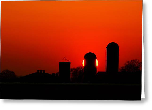Sunset Silo Greeting Card by Cale Best