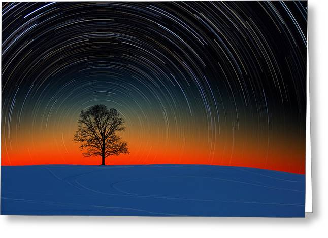 Sunset Star Trails Greeting Card by Larry Landolfi
