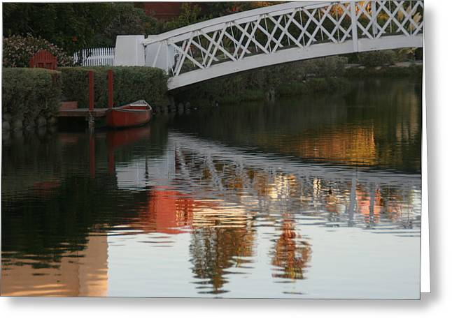 Sunset Stroll In The Canals Greeting Card by Rebecca Baker