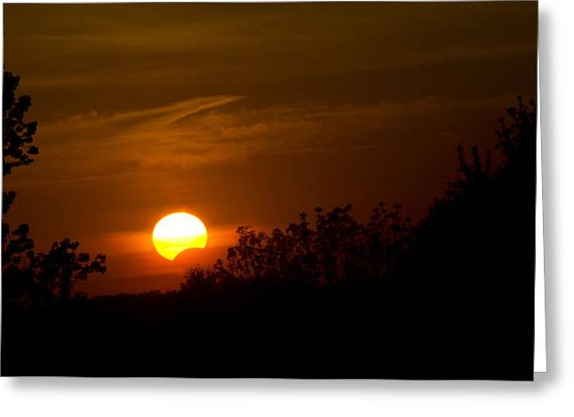 Greeting Card featuring the photograph Sunset Sun Eclipse by Nick Mares
