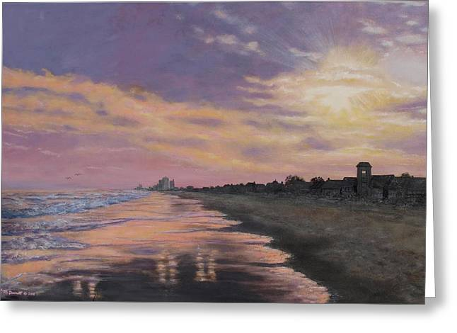 Sunset Surf Reflections Greeting Card by Kathleen McDermott
