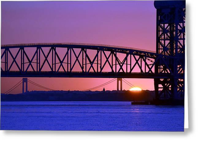 Greeting Card featuring the photograph Sunset Verrazano Under Marine Park Bridge by Maureen E Ritter