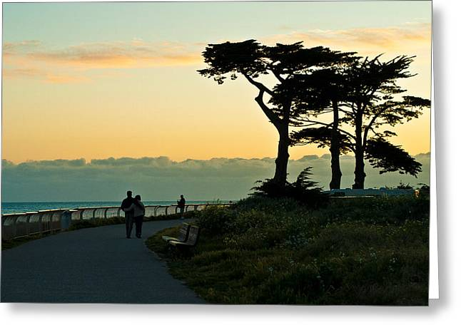 Sunset Walk Greeting Card by Ken Stachnik