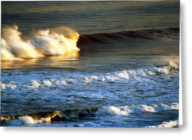 Sunset Wave Rockaway Beach Nyc Greeting Card by Maureen E Ritter