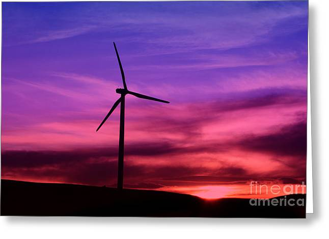 Greeting Card featuring the photograph Sunset Windmill by Alyce Taylor